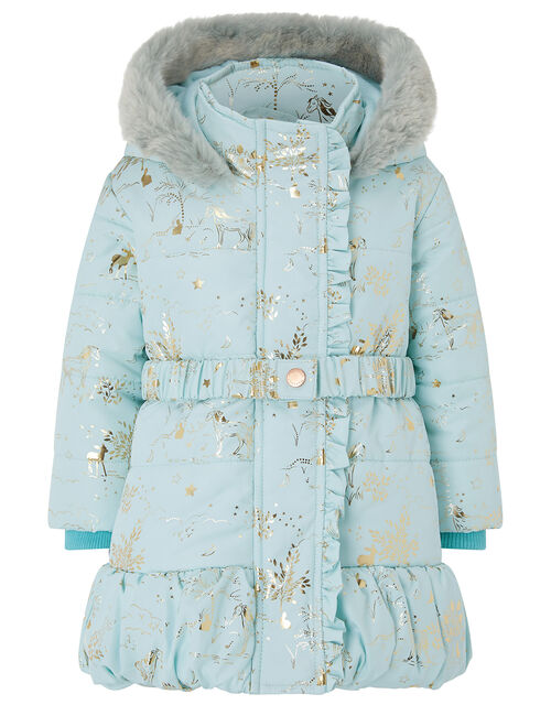 Baby Foil Padded Coat, Blue (AQUA), large