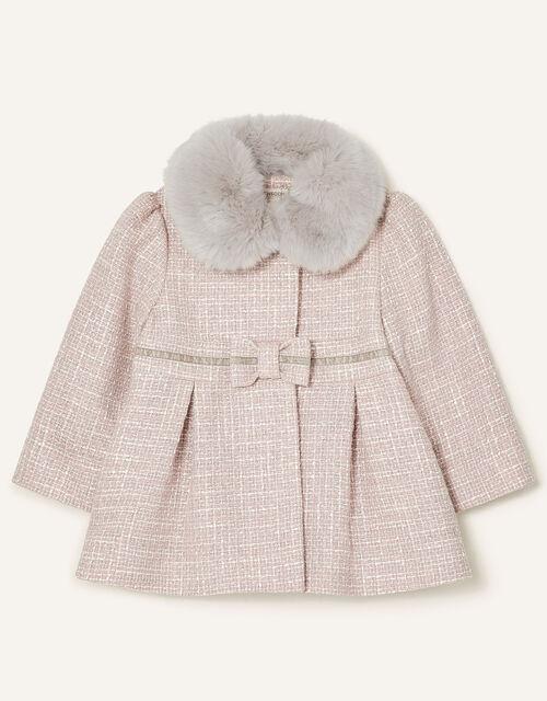 Baby Bow Tweed Coat, Grey (GREY), large