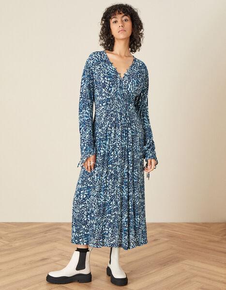 Shirred Animal Print Dress  Blue, Blue (NAVY), large