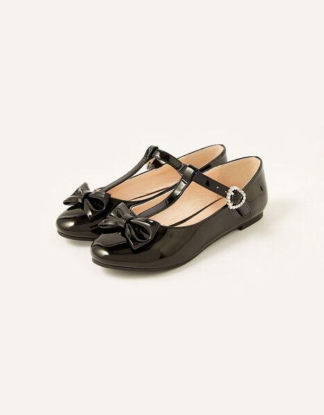 Patent T-Bar Bow Ballerina Flats  Black, Black (BLACK), large