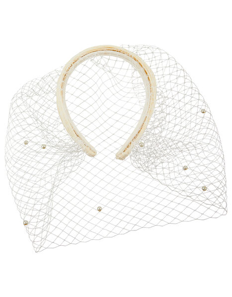 Beatrice Bridal Veil Pearl Headband, , large