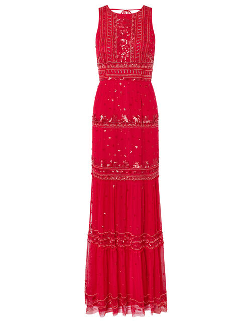 Sai Sustainable Embellished Maxi Dress, Red (RED), large