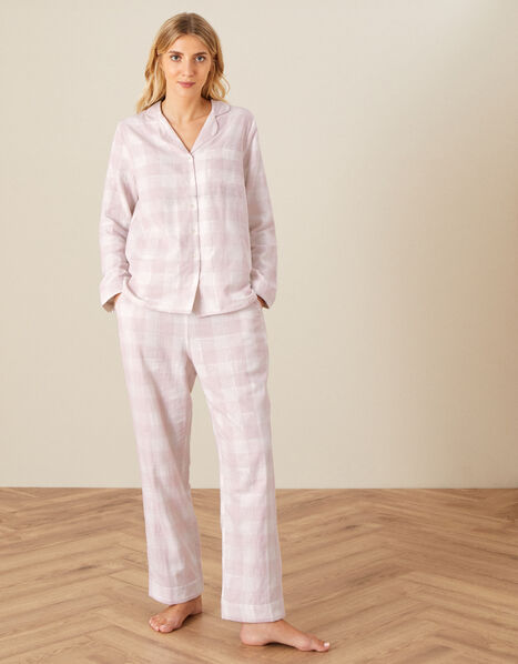 Check Wide Leg PJ Trousers Pink, Pink (BLUSH), large