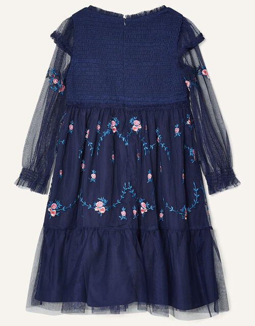 Floral Embroidered Long Sleeve Dress, Blue (NAVY), large
