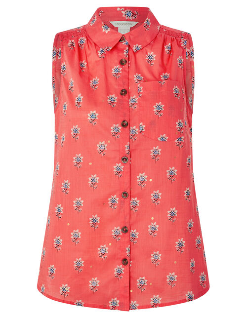 Clover Floral Sleeveless Shirt in Organic Cotton, Orange (CORAL), large
