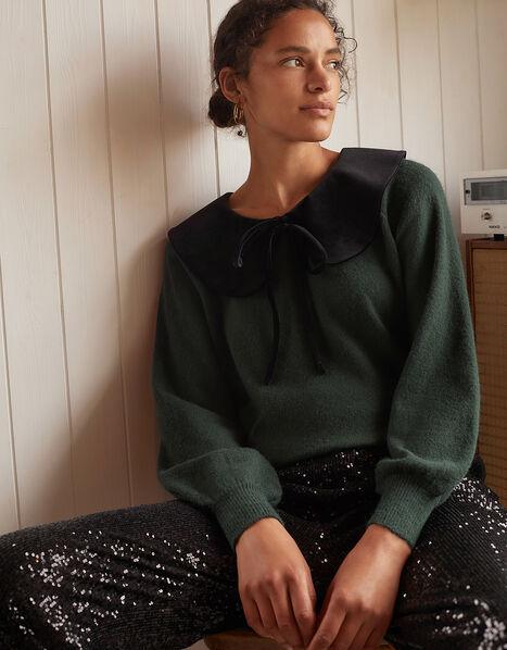 Velvet Tie Collar Knit Jumper Green, Green (GREEN), large