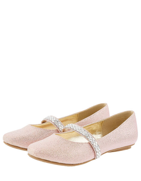 Embellished Strap Shimmer Ballerina Flats Pink, Pink (PINK), large