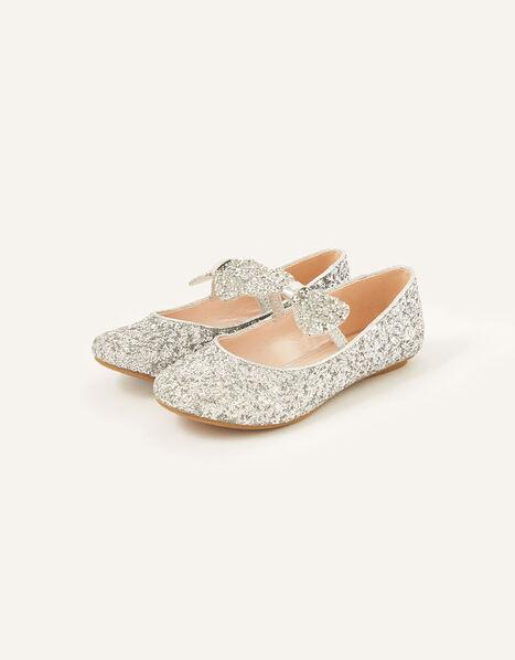 Glitter Dazzle Bow Ballerina Flats Silver, Silver (SILVER), large