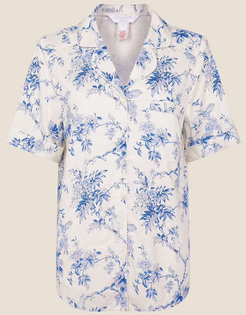 Bird Floral Pyjama Top, Ivory (IVORY), large