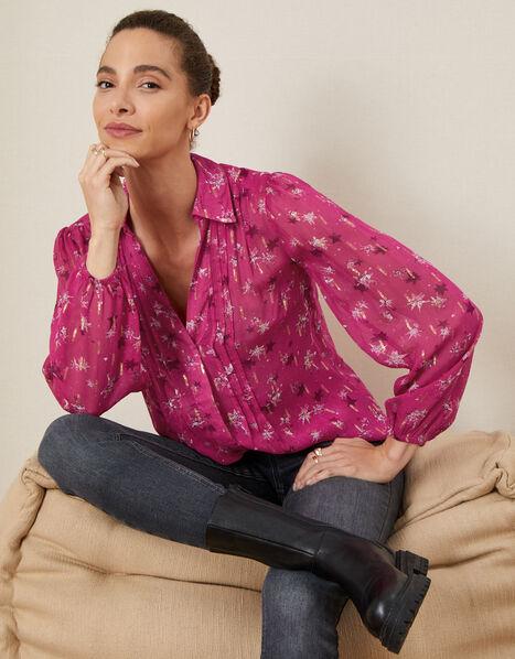 Effie Jacquard Blouse Pink, Pink (PINK), large