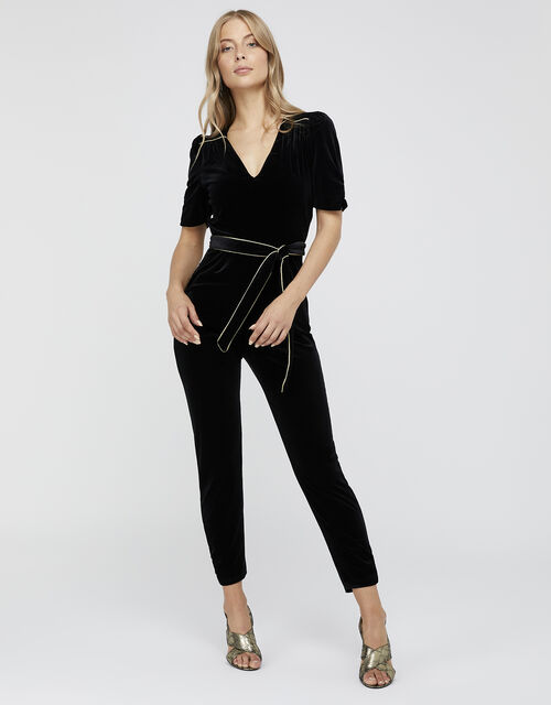 Kimberley Velvet Jumpsuit, Black (BLACK), large