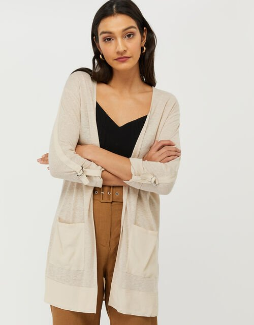 Carrie Woven Cardigan in Linen Blend, Natural (STONE), large