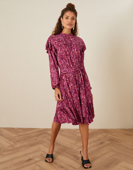 Paisley Print Frill Jersey Dress  Pink, Pink (PINK), large