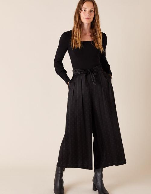 Satin Cropped Trousers, Black (BLACK), large