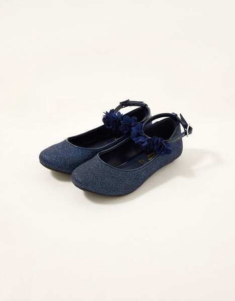 Glitter Corsage Ballerina Flats  Blue, Blue (NAVY), large