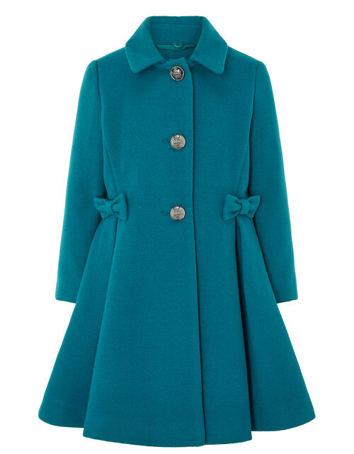 Bow Flared Coat, Teal (TEAL), large