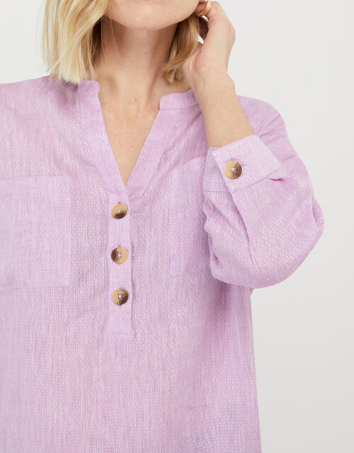 Biana Lightweight Blouse in Pure Linen, Purple (LILAC), large