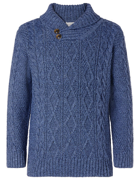 Shawl Collar Cable Knit Jumper Blue, Blue (BLUE), large