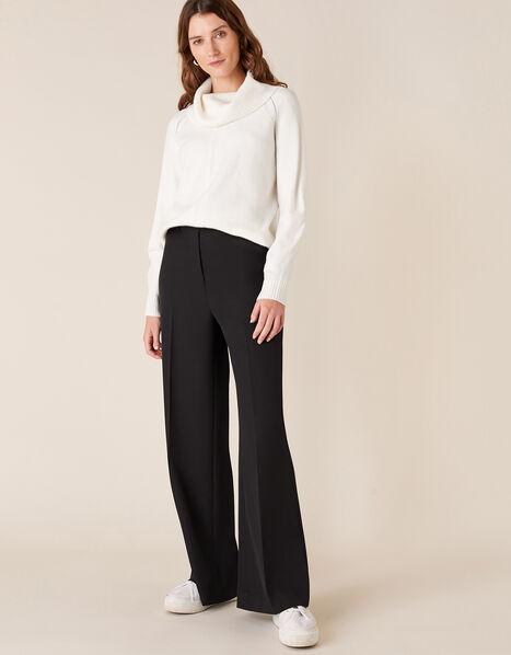 Tailored Wide-Leg Trousers Black, Black (BLACK), large