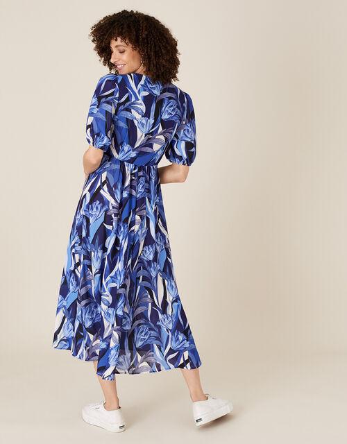 Tally Tulip Satin Tea Dress, Blue (NAVY), large