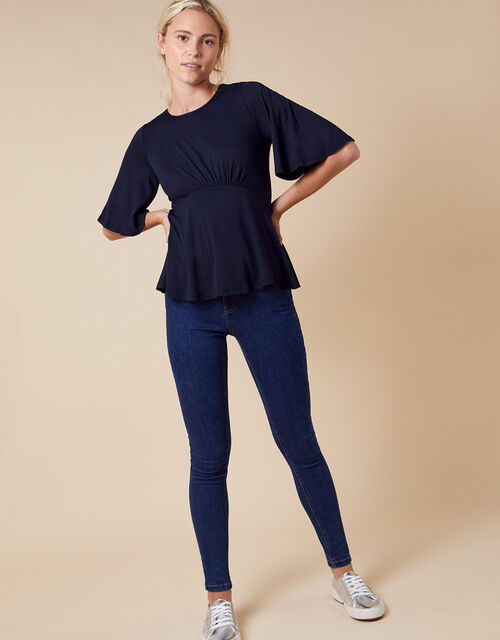 Fluted Sleeve Jersey Top, Blue (NAVY), large
