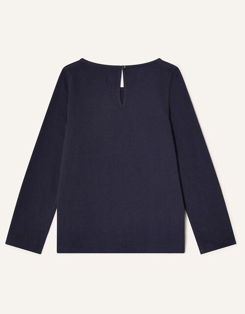 Sequin Horse Long Sleeve Top, Blue (NAVY), large