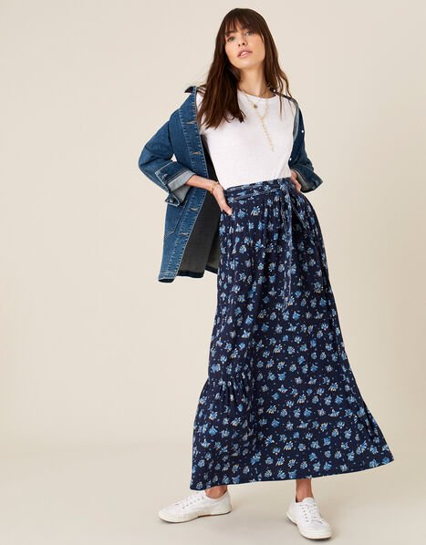 Floss Printed Maxi Skirt with Organic Cotton Blue, Blue (NAVY), large