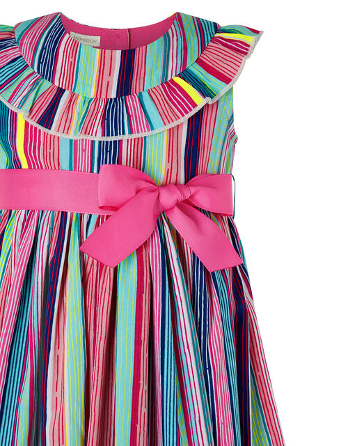 Baby Ophelia Colourful Stripe Dress in Recycled Polyester, Pink (PINK), large