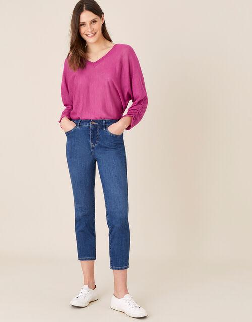 Gathered Sleeve Jumper in Linen Blend, Pink (PINK), large