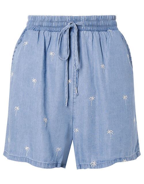 Palm Tree Shorts in LENZING™ TENCEL™ , Blue (DENIM BLUE), large