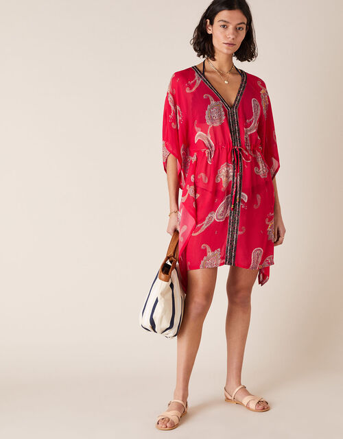 Heritage Print Kaftan in Sustainable Viscose, Red (RED), large