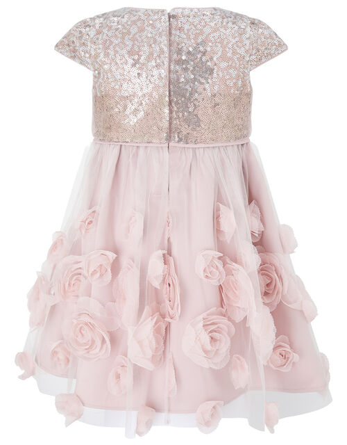 Baby Sequin 3D Rose Dress, Pink (DUSKY PINK), large