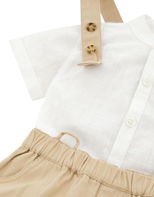 Newborn Baby Benji Shirt and Dungarees Set, Natural (STONE), large