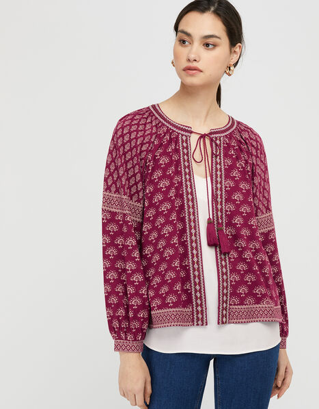 Heshna Floral Tassel Cover-Up Red, Red (BERRY), large