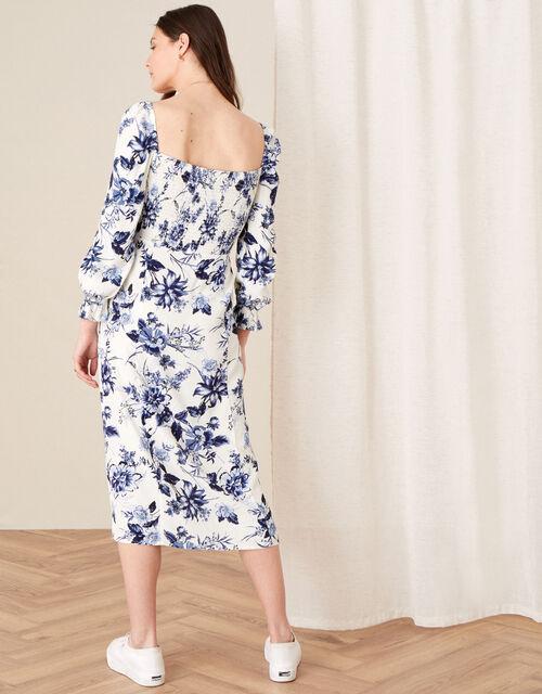 Floral Square Neck Midi Dress, Ivory (IVORY), large