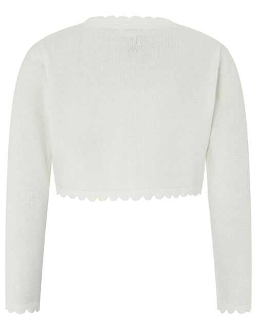 Baby Niamh Cropped Sparkle Knitted Cardigan, Ivory (IVORY), large