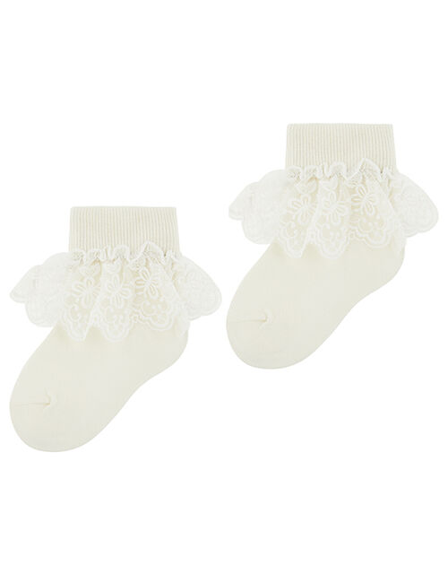 Girl Butterfly Lace Ankle Socks, Ivory (IVORY), large