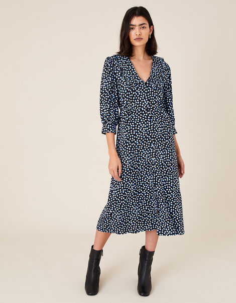 Flower Bud Print Midi Dress Blue, Blue (BLUE), large
