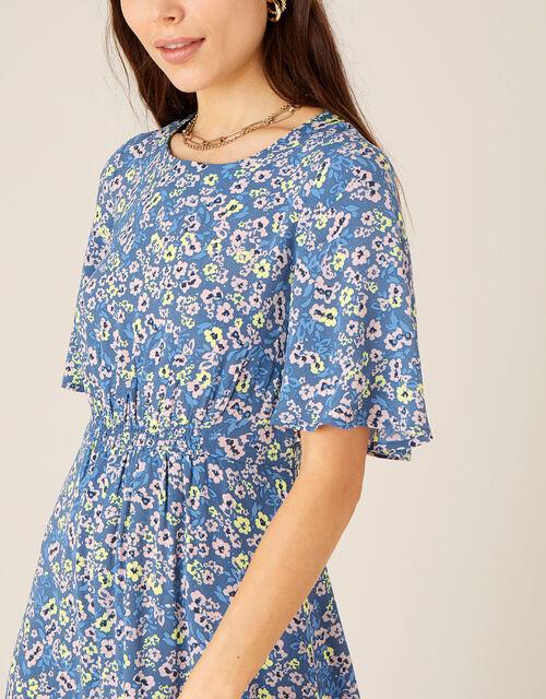 Darella Floral Print Midi Dress , Blue (BLUE), large