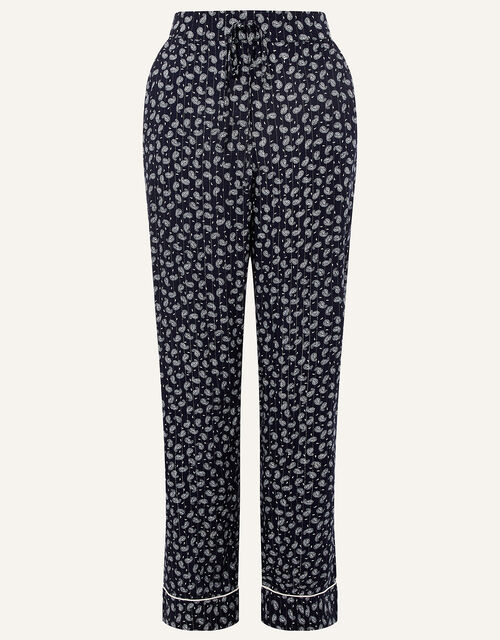 Paisley and Pinstripe Pyjama Bottoms, Blue (NAVY), large