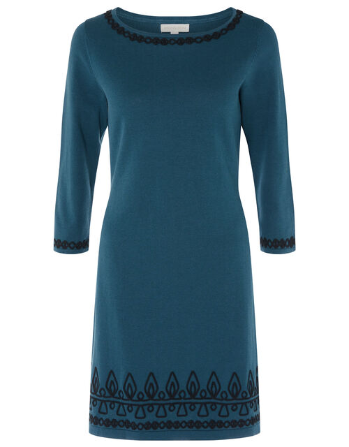Cornelli Trim Knit Dress, Teal (TEAL), large