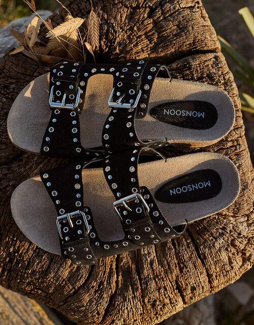 Sadie Double Strap Suede Sandals, Black (BLACK), large