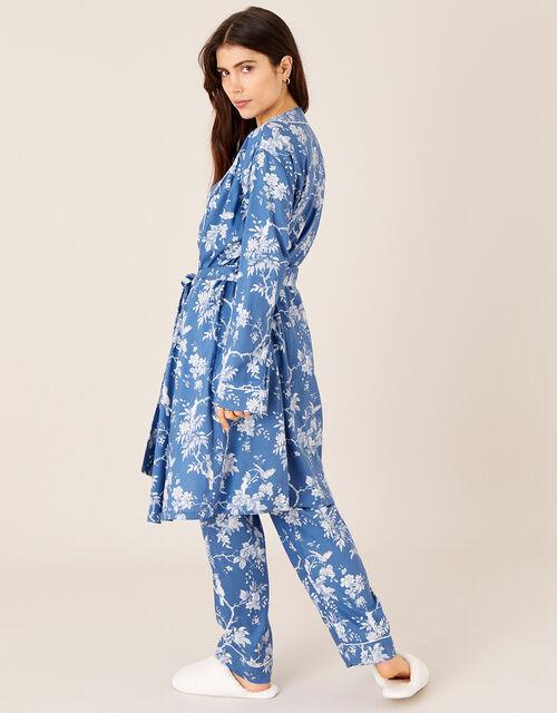 LOUNGE Floral Print Dressing Gown, Blue (BLUE), large