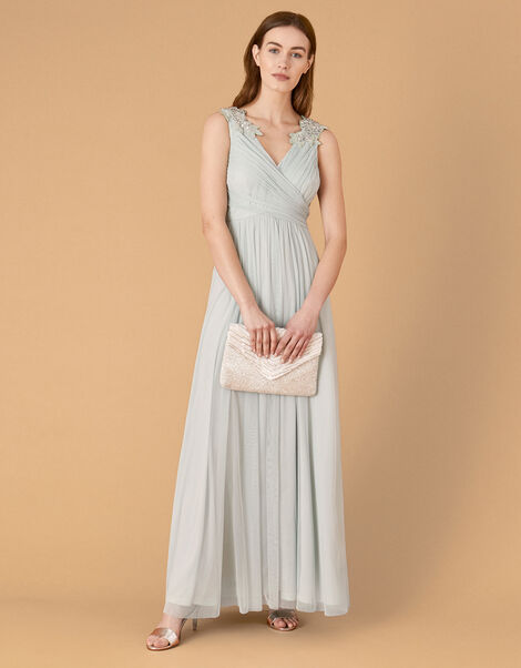 Mischa Embellished Tulle Maxi Dress Green, Green (GREEN), large