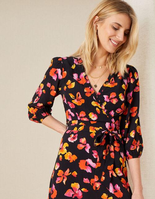 Yazmin Floral Wrap Dress, Black (BLACK), large