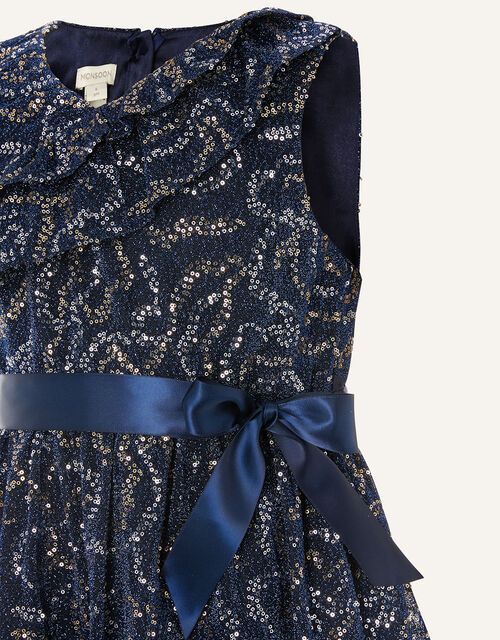Remmel Sequin Sparkle Frill Dress , Blue (NAVY), large