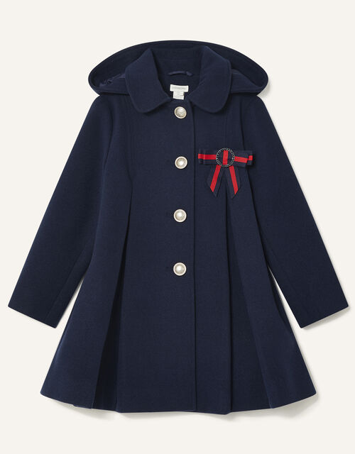 Bow Brooch Swing Coat, Blue (NAVY), large