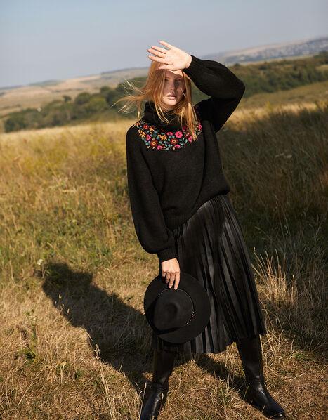 Floral Embroidered Yoke Knit Jumper Black, Black (BLACK), large