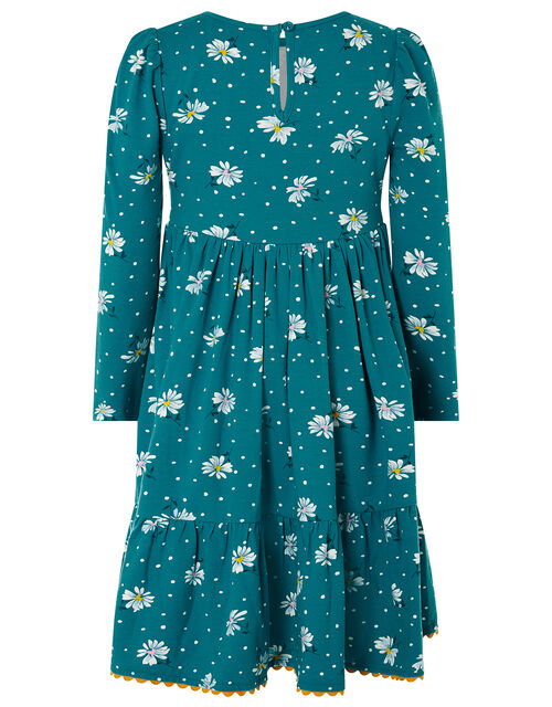 Daisy Shirred Jersey Dress, Green (GREEN), large