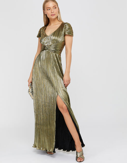 Loreen Lame Maxi Dress, Gold (GOLD), large